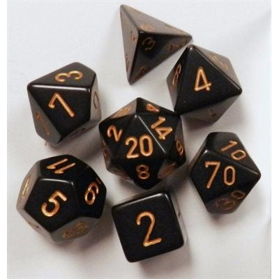 Chessex Opaque: 7Pc Black / Gold
