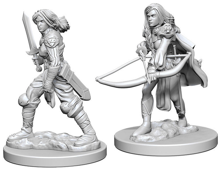 Pathfinder Deep Cuts Unpainted Miniatures: Human Female Fighter | Boutique FDB