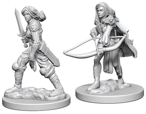 Pathfinder Deep Cuts Unpainted Miniatures: Human Female Fighter