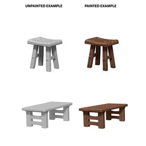 WizKids Deep Cuts Unpainted Miniatures: Wave 4: Wooden Table & Stools | Boutique FDB