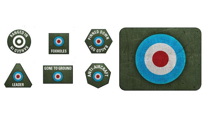 Flames of War British LW Tokens (20) and Objectives (2) | Boutique FDB