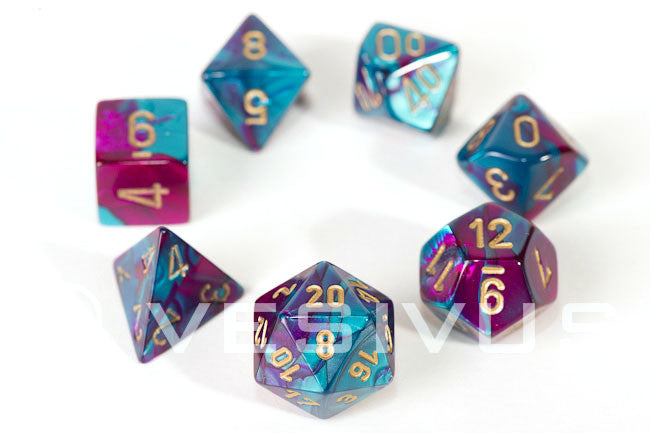 Chessex 7 dice set purple-teal w/gold chx26449 | Boutique FDB
