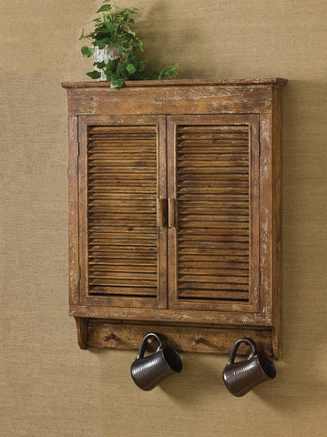 Distressed Wood Shutter Cabinet