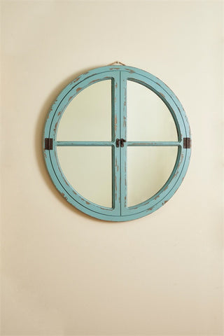 Round Window Wood Mirror - Sea