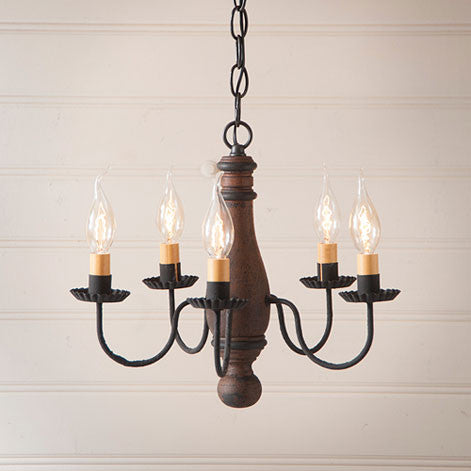 Bed and Breakfast 4-arm Wooden Chandelier In Hartford Colors by Irvin's Country Tinware