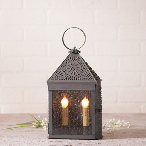 Harbor Lantern with Chisel in Blackened Tin