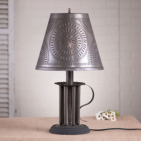 Round Candle Mold Lamp w/Chisel Shade in Blackened Tin
