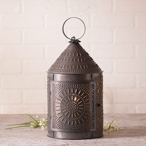 "17"" Fireside Lantern in Blackened Tin"