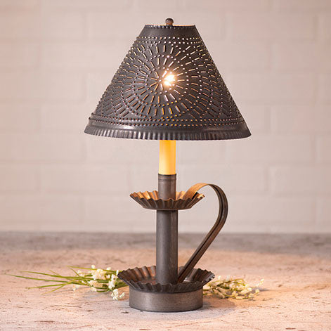 Plantation Candlestick Lamp w/Chisel Shade in Blackened Tin