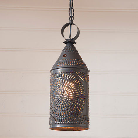 "15"" Electrified Hanging Lantern in Blackened Tin"