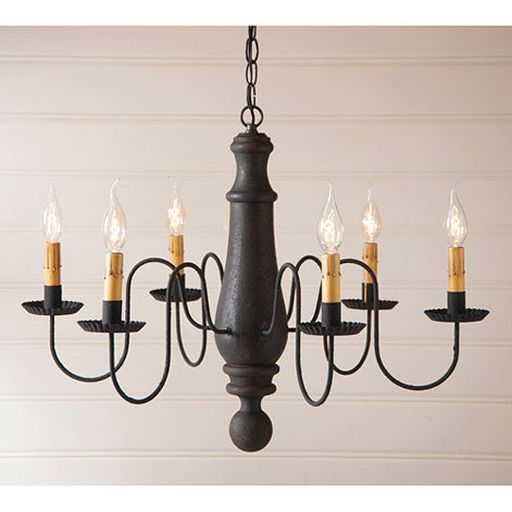 Large Norfolk 6-arm Wooden Chandelier In Hartford Colors by Irvin's Country Tinware