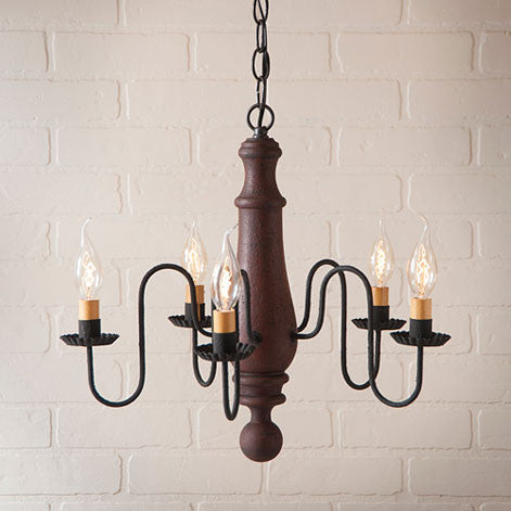 Medium Norfolk 5-arm Wooden Chandelier In Hartford Colors by Irvin's Country Tinware