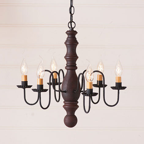 Manassas 6-arm Wooden Chandelier In Hartford Colors by Irvin's Country Tinware