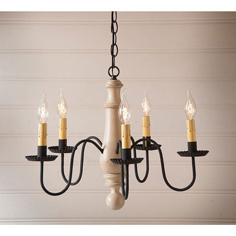Medium Norfolk 5-arm Wooden Chandelier In Sturbridge Colors by Irvin's Country Tinware
