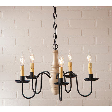 Lynchburg 5-arm Wooden Chandelier In Sturbridge Colors by Irvin's Country Tinware