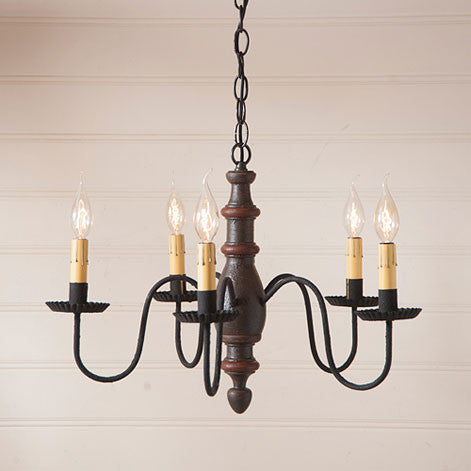 Country Inn 5-arm Wooden Chandelier In Americana Colors by Irvin's Country Tinware