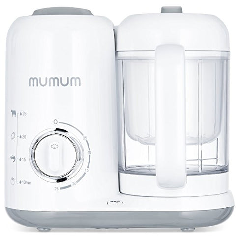 Mumum Baby 4-in-1 Baby Food Maker, Defrost, Steam, Cook & Blend with Built in Timer