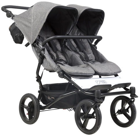 Mountain Buggy Duet Luxury Stroller with Satchel & Bag Clips- Herringbone