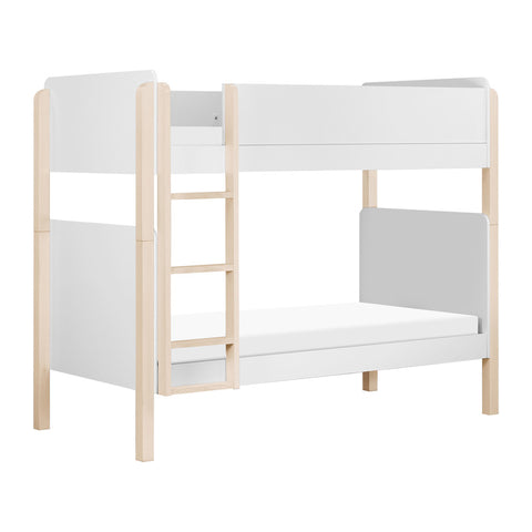 Babyletto TipToe 39 Inch Bunk Bed in White and Washed Natural