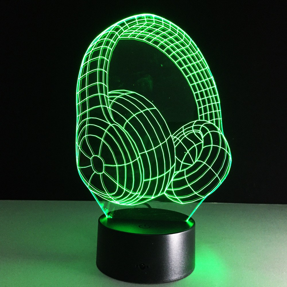 3D Lamp - New 3D DJ Headphones Ilusion Remote Control USB Lamp