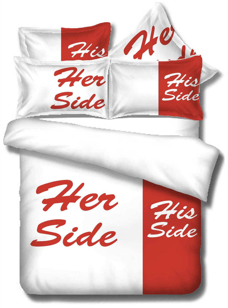 Bedding Set - His Side & Her Side Soft Duvet Cover And Pillowcases Bedding Set