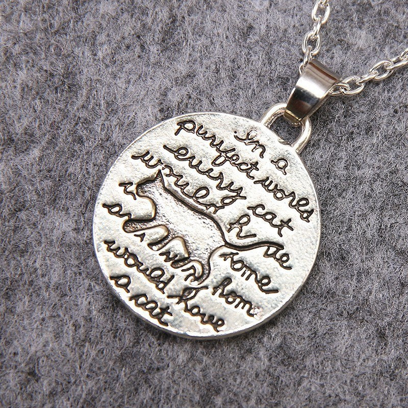Cute Cat Silver Necklace