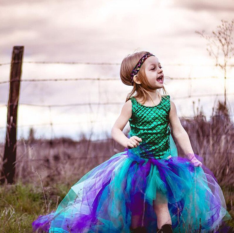 Dress - Cute Mermaid Princess Bodysuit+Tulle Tutu Dress