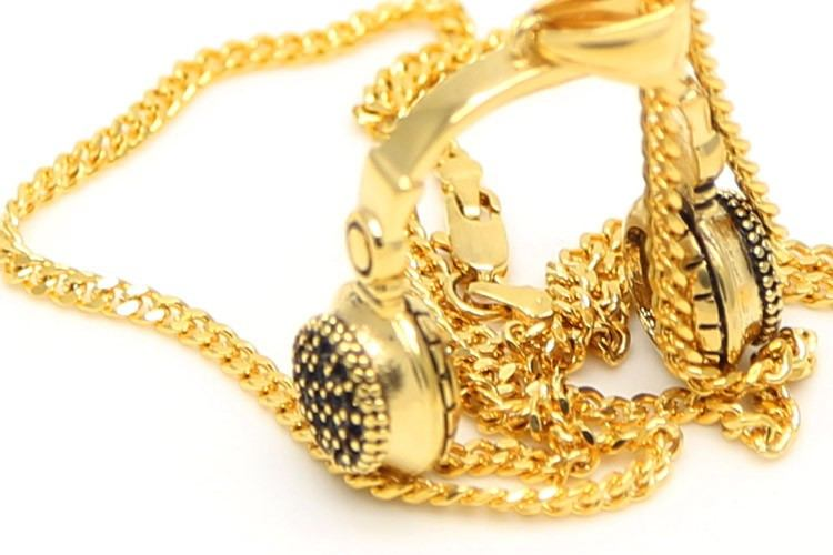 Necklace - Headphones Pendant Stainless Steel Gold Plated Retro DJ