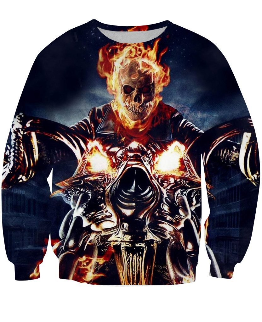 Sweatshirt - Motorcycle Skull In Fire 3D Sweatshirt