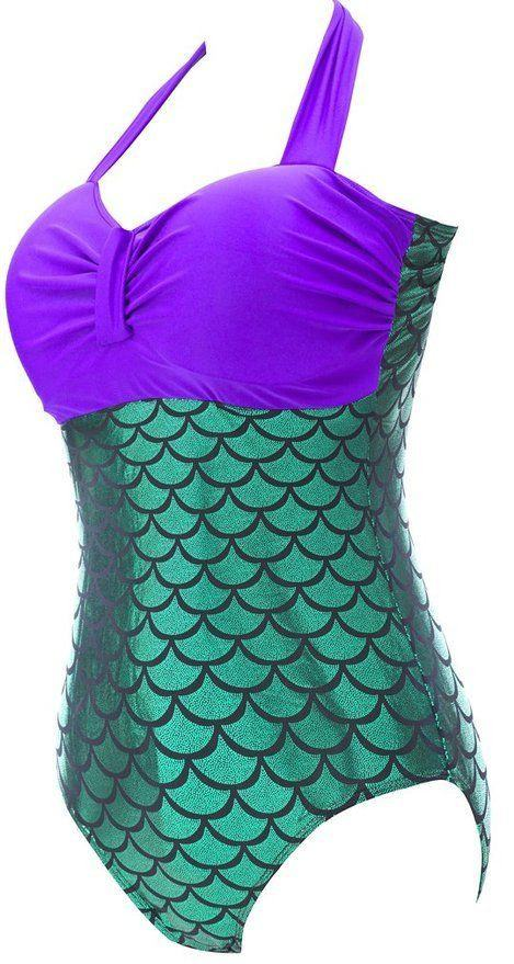 Swimsuit - Plus Size One Piece Sexy Mermaid Swimsuit