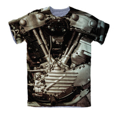 T-shirt - Knucklehead Engine Power Motorcycle 3D T-Shirt #1