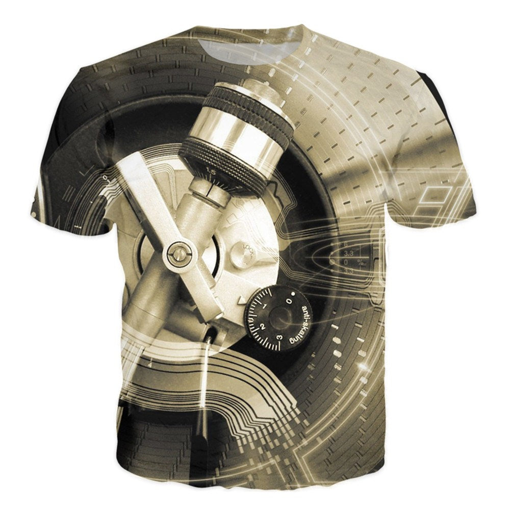 T-shirt - Music Power Technics Vinyl Turntable DJ 3D T-Shirt