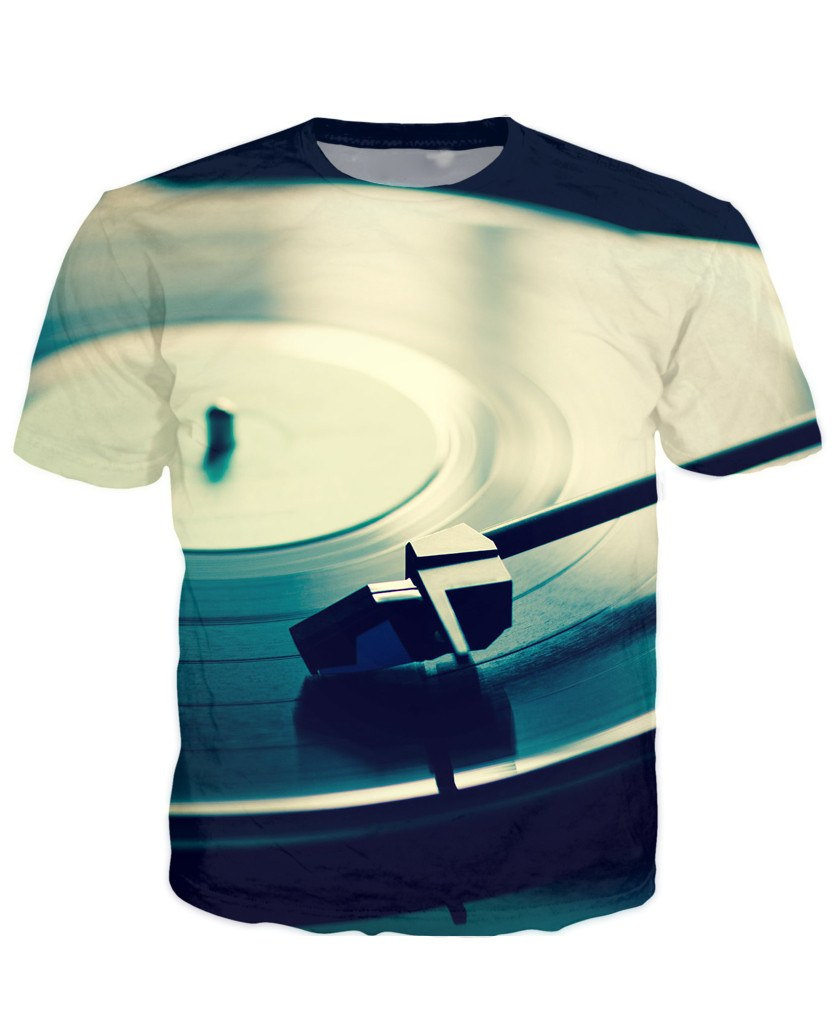 T-shirt - Vinyl Turntable Dj 3D T-Shirt #4
