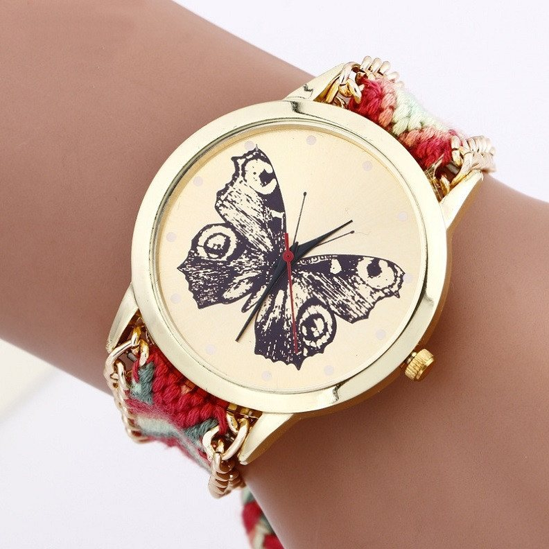 Watch - NEW Hand Made Butterfly Rainbow Hippie Braided Watch