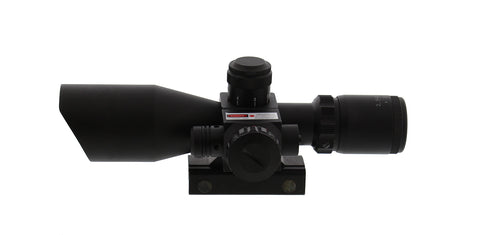 Tactical Rifle Scope with Illuminated Reticle and Built-In Laser