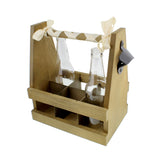 6-Pack Walnut Wooden Bottled Beverage Carrier