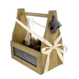 6-Pack Walnut Wooden Bottled Beverage Carrier with Chalkboard