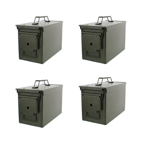 50 Cal Metal Gun Ammo Cans 4-Pack Military Shotgun Rifle Storage Boxes
