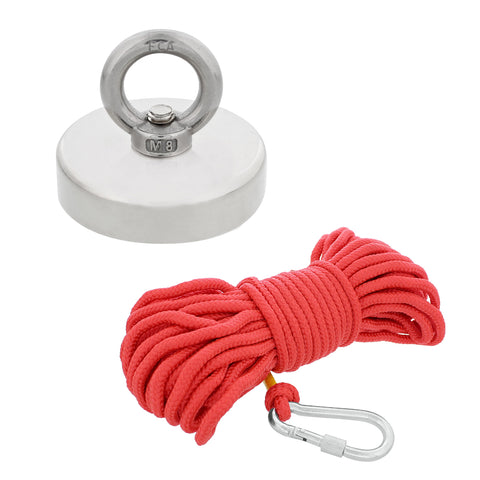 Fishing Magnet and Rope - Treasure Hunting Magnet, 330 lb. Capacity