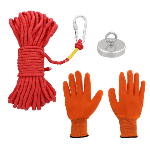 Fishing Magnet and Rope - Treasure Magnet Kit with Gloves, 925 lb. Cap