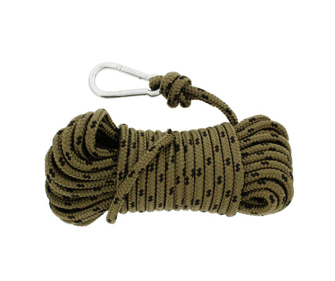Nylon Rope & Carabiner, 3/8� Inch x 50� Feet, 220 Pound Tension Anchor