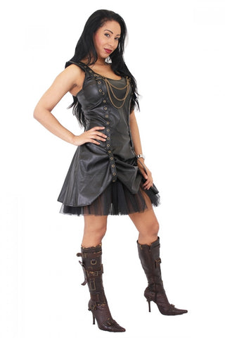 Leather Look Golden Steampunk Rouch Dress