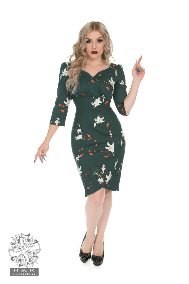 Dorothy Lily Floral Wiggle Dress by Hearts & Roses