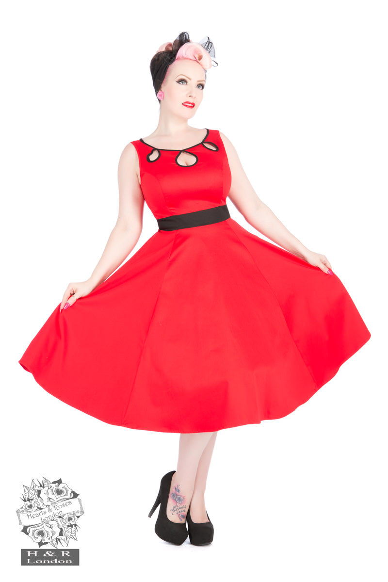 Forties to Noughties Red Keyhole dress by Hearts & Roses