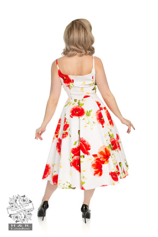 Red Poppy Blossoming Swing Dress by Hearts & Roses