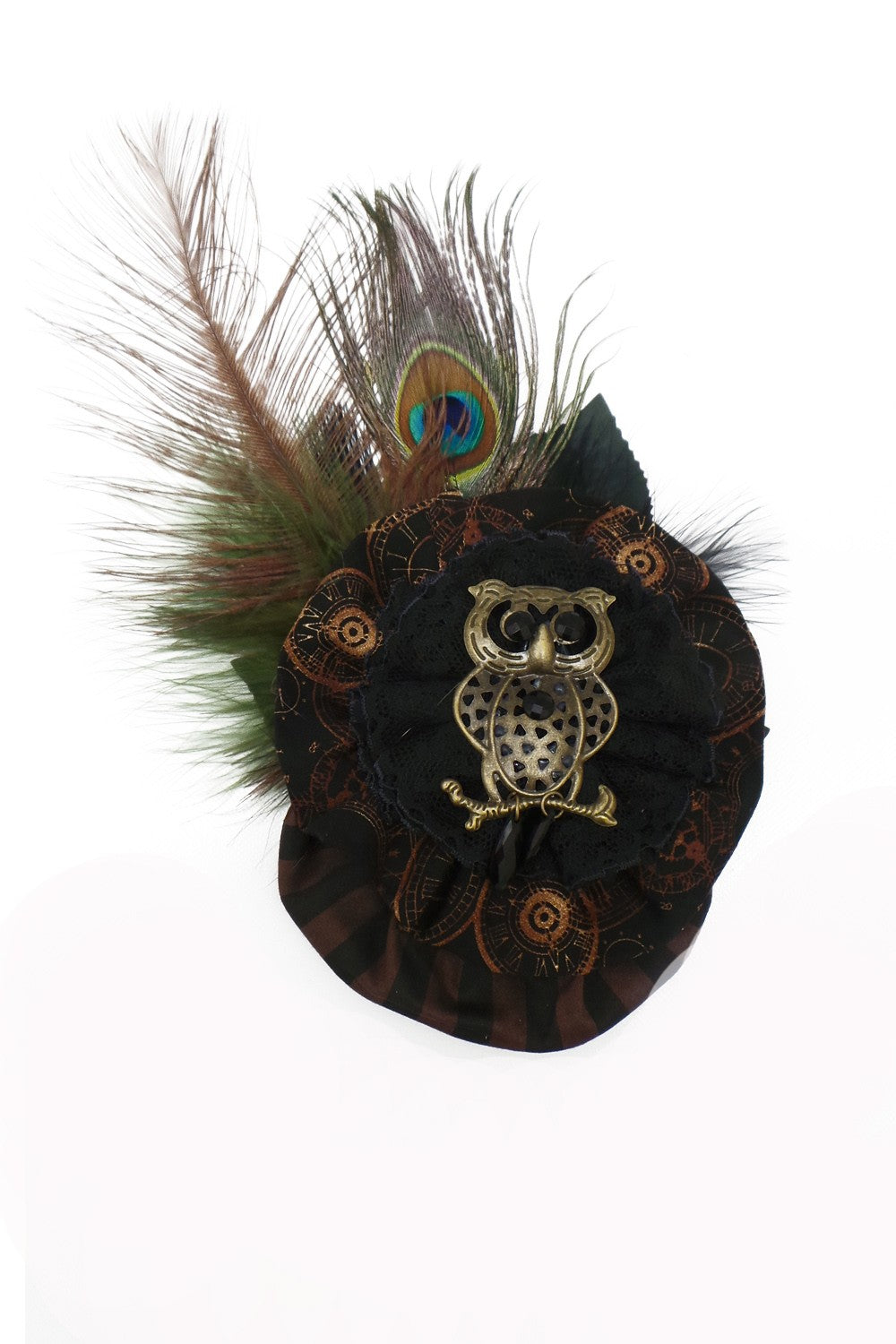 Time Clocks Owl Fascinator Hat