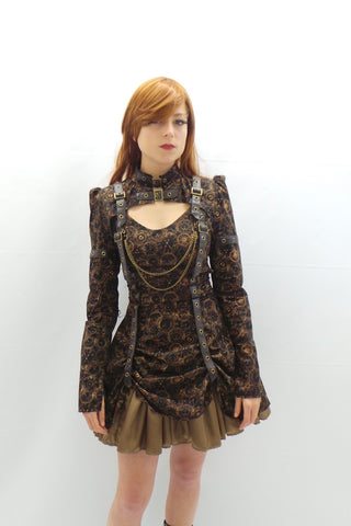 Time Clocks Strap Chain Steampunk Dress