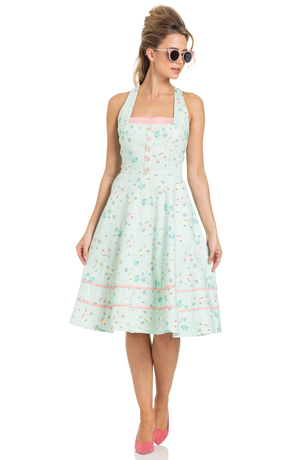 Eva retro scooter print flared dress by Voodoo Vixen