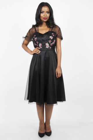 Zoe black floral emboidery dress by Voodoo Vixen