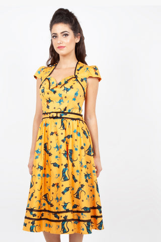 Savannah mustard cat print dress by Voodoo Vixen